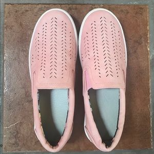 Shoes - Vegan Leather Pink Perforated Slip-On Shoes Sz 7.5